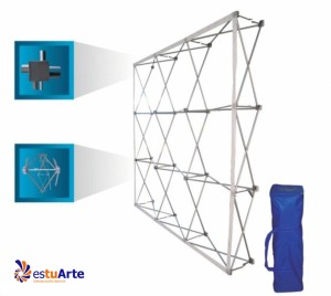 stand portatil textil plegable estuarte